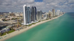 Sunny Isles Beach aerial from beach Stock Footage