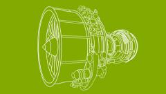 Jet Engine Drawing (HD) Stock Footage
