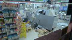 Stock Video Footage of Convenience Store Destroyed After a Vehicle Crashed Through Store Front 3
