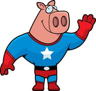 Superhero Pig Waving - stock illustration