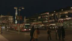 Stockholm Sergels Torg night lights panorama Stock Footage