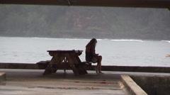 Hanalei Bay pier on Kauai,  woman Stock Footage