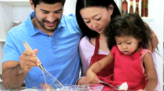 Close Up Happy Young Ethnic Family Home Kitchen Cake Baking - stock footage