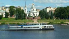Tver city, motor ship, Volga river, Russia Stock Footage