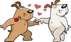 Dog Romance - stock illustration