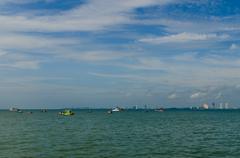 fishing boat anchor near the city - stock photo