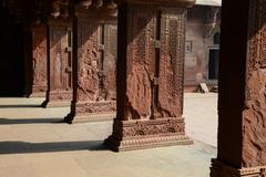 pillars at fort agra in india - stock photo