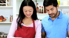 Heterosexual Asian Chinese Couple Baking Together Kitchen - stock footage