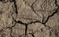 close-up of arid cracked earth - stock photo