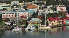 Antigua St Johns harbor colorful pier business HD 1316 Stock Footage