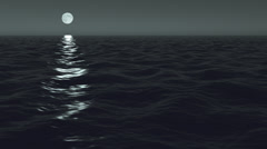 Ocean Night Moonrise Scene Seamlessly Looping 4K UHD Stock Footage