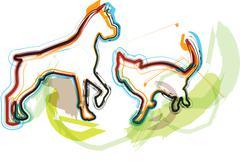 Cat & Dog, vector illustration - stock illustration