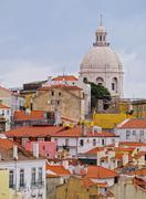alfama skyline in lisbon - stock photo