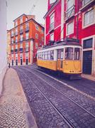 old tram in lisbon - stock photo