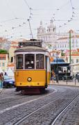 old tram in lisbon - stock photo