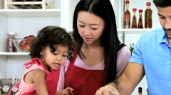 Asian Chinese Parents Infant Girl Red Apron Kitchen Fun Together Stock Footage