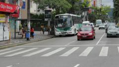 Traffic in the city - Santos Beach, Sao Paulo, Brazil Stock Footage