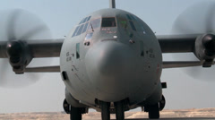 US Airforce C-130 Hercules at Bahrain Airshow Stock Footage