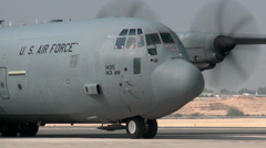 Hercules C-130 Taxiing out for take off Stock Footage