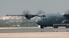 C-130 Hercules arriving at the Bahrain Airshow 2014 Stock Footage