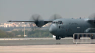 Stock Video Footage of C-130 Hercules arriving at the Bahrain Airshow 2014