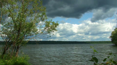 Volga river landscape. Konakovo, Tver, Russia. Stock Footage