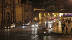 Cusco Plaza de Armas at Night Stock Footage