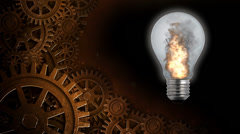 Flaming Light Bulb with Gears Stock Footage