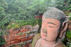 World's biggest Buddha in Leshan closeup - stock photo
