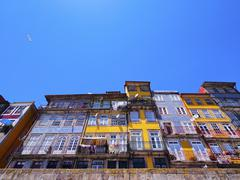 wall of the ribeira shelters in porto - stock photo