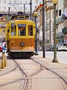 old tram in porto - stock photo