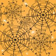 elegant seamless pattern with spider webs and spiders for your design - stock illustration
