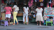 Stock Video Footage of Antigua Women shopping tourist store shops HD 1293