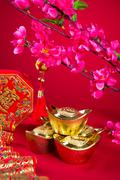 chinese new year decorations during festival - stock photo