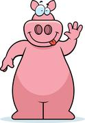 Pig Waving - stock illustration