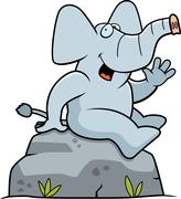 Elephant Sitting - stock illustration
