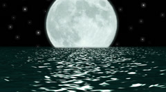 Ocean Night Large Moon Fantasy Scene Seamlessly Looping 4K UHD Stock Footage