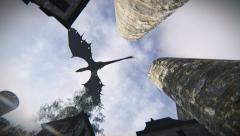 Mythological dragon flying over a medieval village Stock Footage