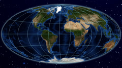 Hammer world map projection - blue marble. Stock Footage