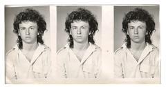 Vintage photo of a young boy, circa 1980. Stock Photos