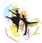Ballet Couple, Vector illustration - stock illustration