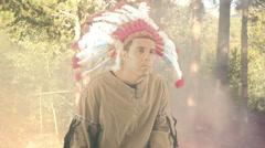 Native american head dress nativesindian Stock Footage