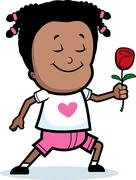 Girl Flower Stock Illustration
