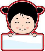 Girl Sign - stock illustration