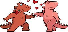 Dinosaur Romance - stock illustration