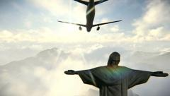 Plane arriving in Rio de Janeiro and Christ the Redeemer - stock footage