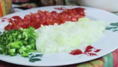 Sliced vegetables and transition Stock Footage