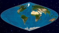 Stock Video Footage of Sinusoidal world map projection - blue marble and natural earth.