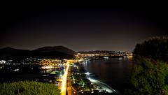 Night view of baia bay, pozzuoli, near naples, italy Stock Photos
