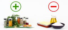herbs and spices versus fats and oils - stock illustration
